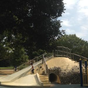 鎖場のある滑り台|昭和記念公園 わんぱく広場