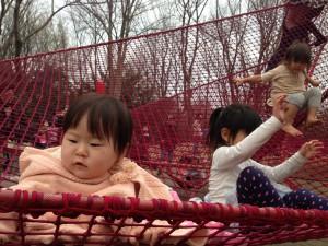 虹のハンモックと赤ちゃん|昭和記念公園こどもの森