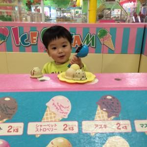 アイスクリームを乗せてドヤ顔(笑)
