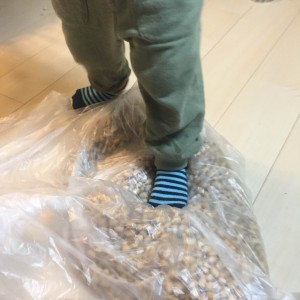 茹でたお豆を袋にいれて踏み踏み